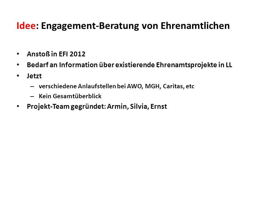 Idee: Engagement-Beratung von Ehrenamtlichen Anstoß in EFI 2012 Bedarf an Information über existierende Ehrenamtsprojekte in LL Jetzt – verschiedene A