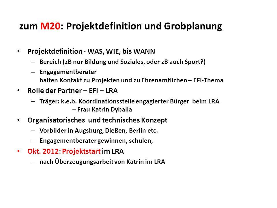 zum M20: Projektdefinition und Grobplanung Projektdefinition - WAS, WIE, bis WANN – Bereich (zB nur Bildung und Soziales, oder zB auch Sport?) – Engag