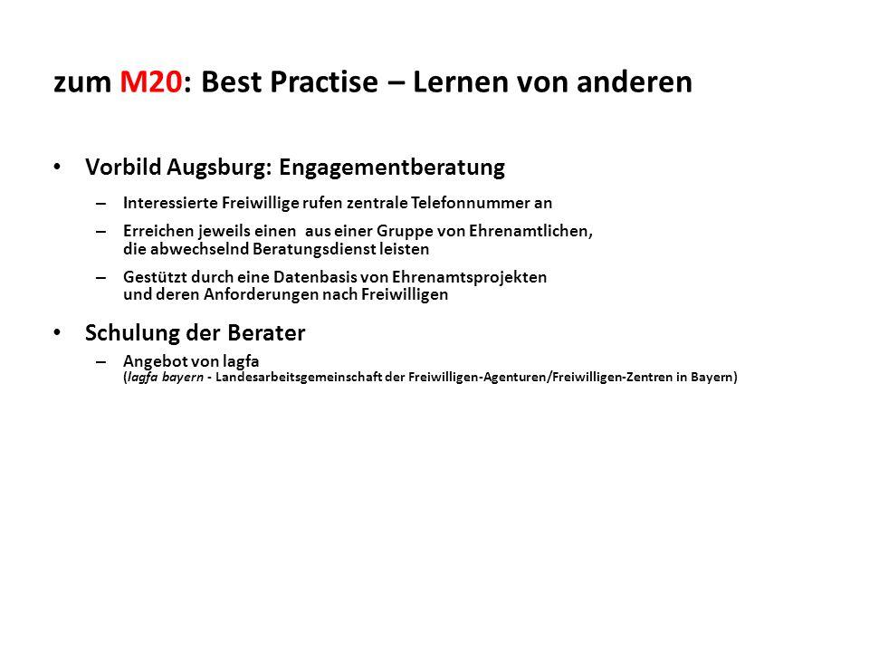 zum M20: Best Practise – Lernen von anderen Vorbild Augsburg: Engagementberatung – Interessierte Freiwillige rufen zentrale Telefonnummer an – Erreich