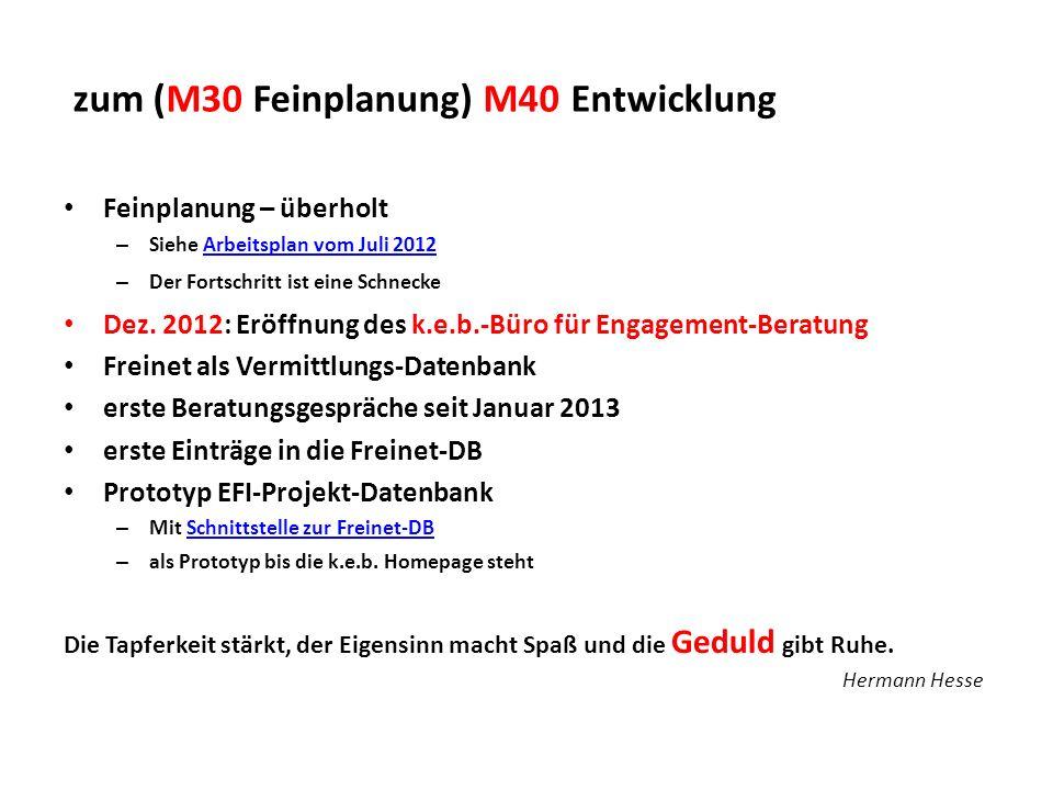 zum (M30 Feinplanung) M40 Entwicklung Feinplanung – überholt – Siehe Arbeitsplan vom Juli 2012Arbeitsplan vom Juli 2012 – Der Fortschritt ist eine Sch