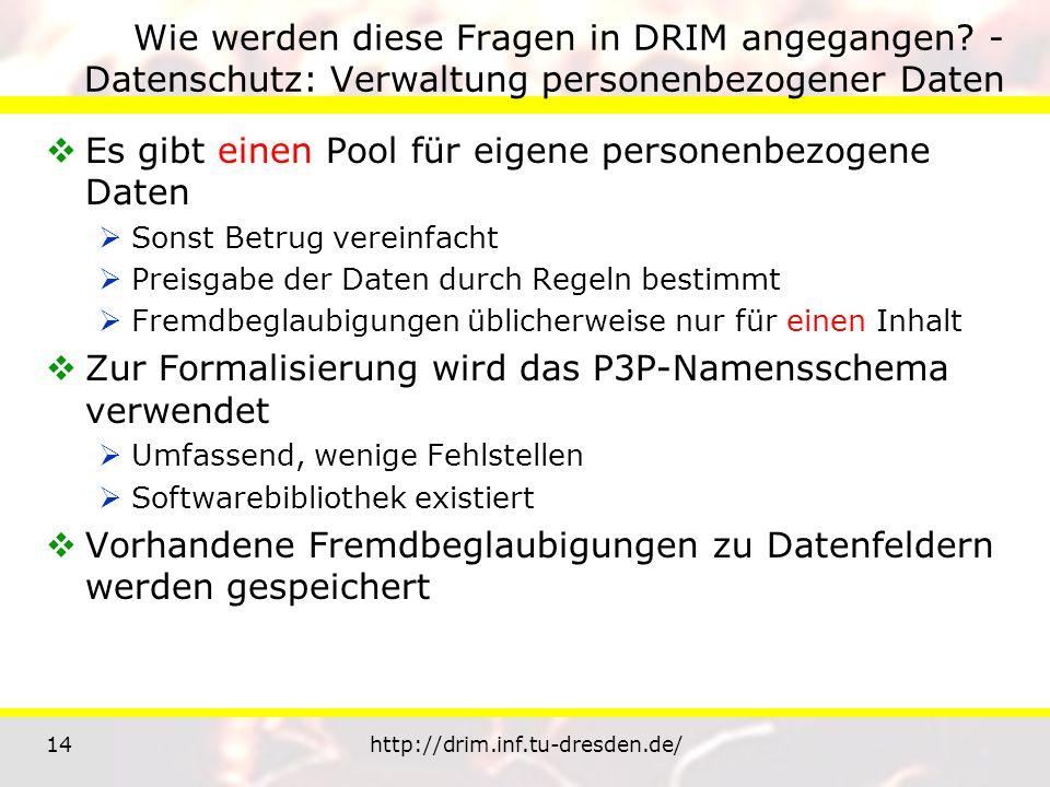 14http://drim.inf.tu-dresden.de/ Wie werden diese Fragen in DRIM angegangen? - Datenschutz: Verwaltung personenbezogener Daten Es gibt einen Pool für