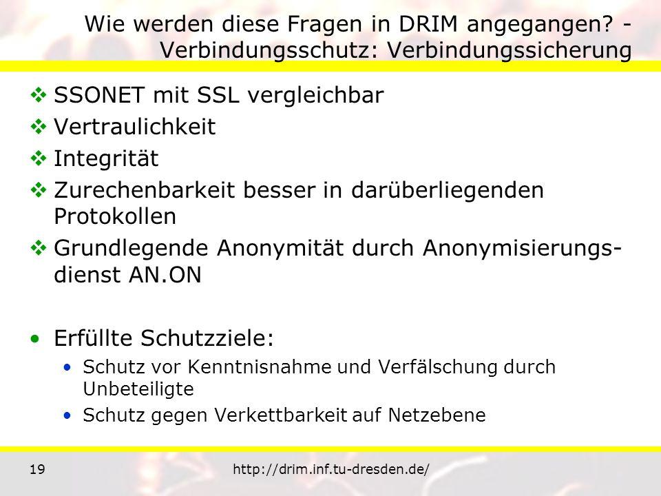 19http://drim.inf.tu-dresden.de/ Wie werden diese Fragen in DRIM angegangen? - Verbindungsschutz: Verbindungssicherung SSONET mit SSL vergleichbar Ver