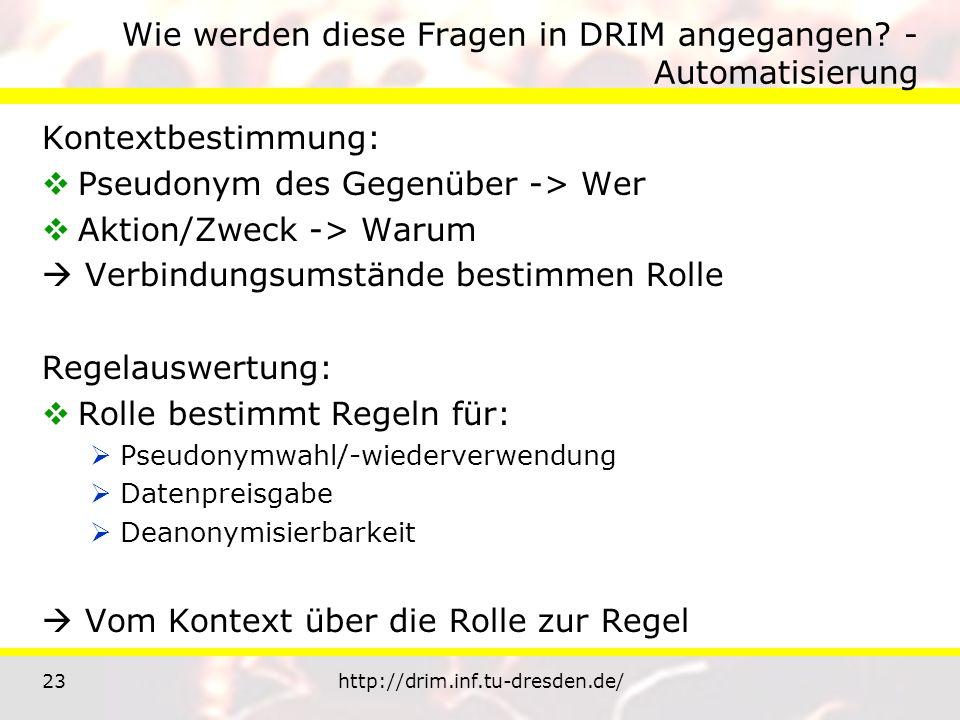 23http://drim.inf.tu-dresden.de/ Wie werden diese Fragen in DRIM angegangen? - Automatisierung Kontextbestimmung: Pseudonym des Gegenüber -> Wer Aktio