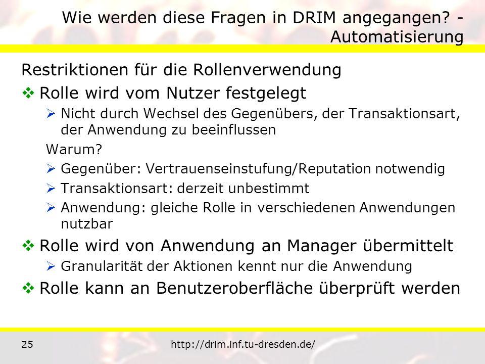 25http://drim.inf.tu-dresden.de/ Wie werden diese Fragen in DRIM angegangen? - Automatisierung Restriktionen für die Rollenverwendung Rolle wird vom N