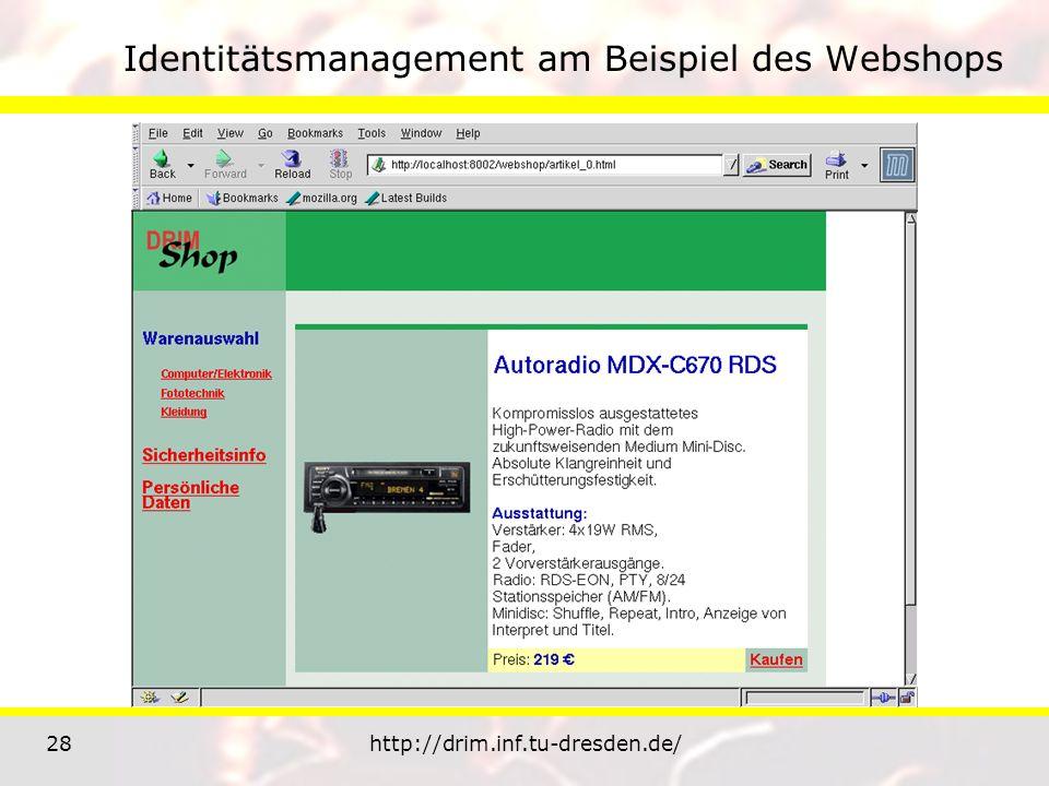 28http://drim.inf.tu-dresden.de/ Identitätsmanagement am Beispiel des Webshops