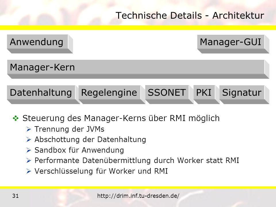 31http://drim.inf.tu-dresden.de/ Technische Details - Architektur Steuerung des Manager-Kerns über RMI möglich Trennung der JVMs Abschottung der Datenhaltung Sandbox für Anwendung Performante Datenübermittlung durch Worker statt RMI Verschlüsselung für Worker und RMI AnwendungManager-GUI Manager-Kern DatenhaltungRegelengineSSONETPKISignatur