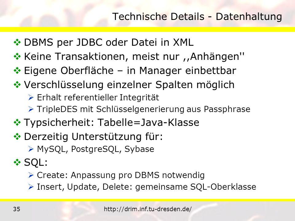35http://drim.inf.tu-dresden.de/ Technische Details - Datenhaltung DBMS per JDBC oder Datei in XML Keine Transaktionen, meist nur,,Anhängen Eigene Oberfläche – in Manager einbettbar Verschlüsselung einzelner Spalten möglich Erhalt referentieller Integrität TripleDES mit Schlüsselgenerierung aus Passphrase Typsicherheit: Tabelle=Java-Klasse Derzeitig Unterstützung für: MySQL, PostgreSQL, Sybase SQL: Create: Anpassung pro DBMS notwendig Insert, Update, Delete: gemeinsame SQL-Oberklasse
