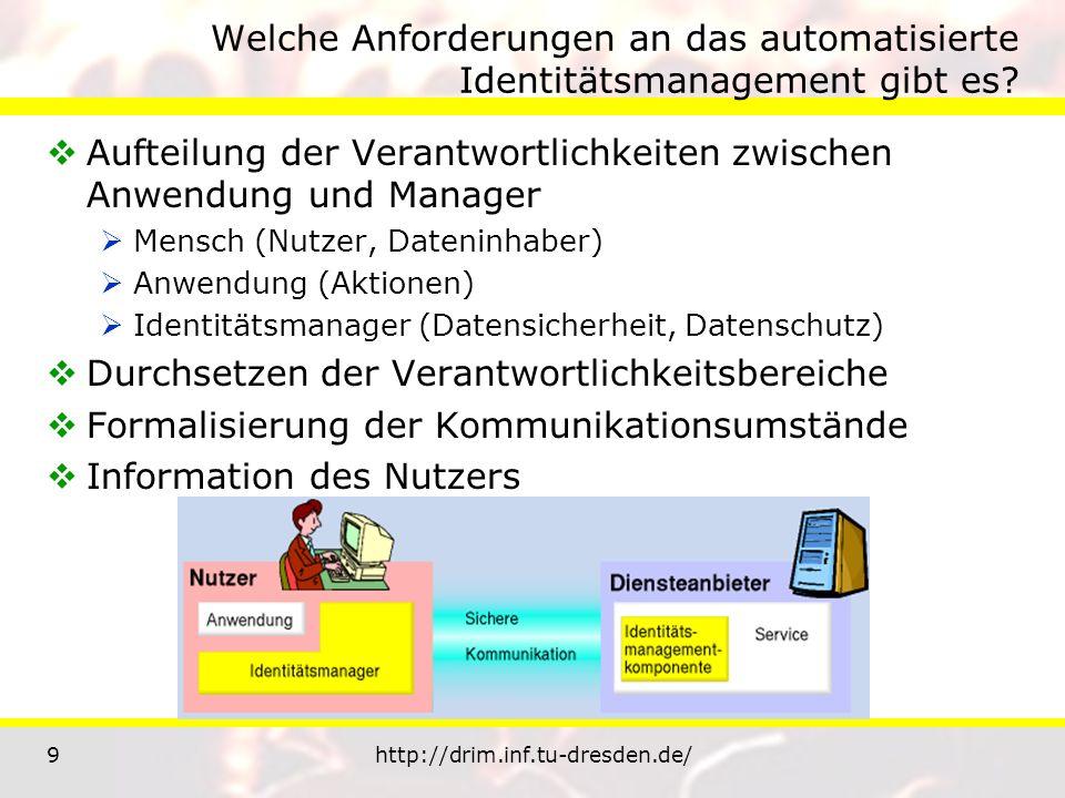 9http://drim.inf.tu-dresden.de/ Welche Anforderungen an das automatisierte Identitätsmanagement gibt es? Aufteilung der Verantwortlichkeiten zwischen