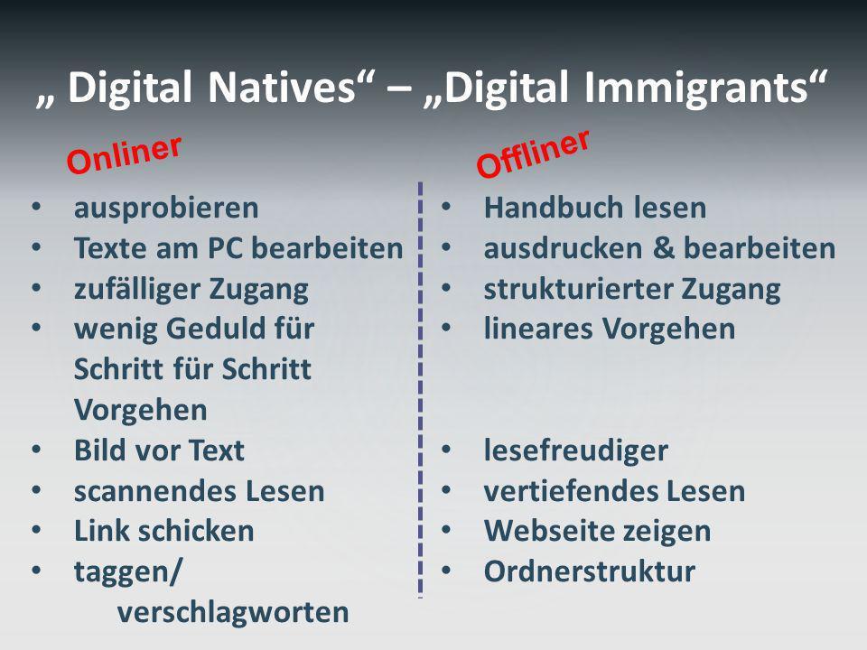 Digital Natives – Digital Immigrants ausprobieren Texte am PC bearbeiten zufälliger Zugang wenig Geduld für Schritt für Schritt Vorgehen Bild vor Text