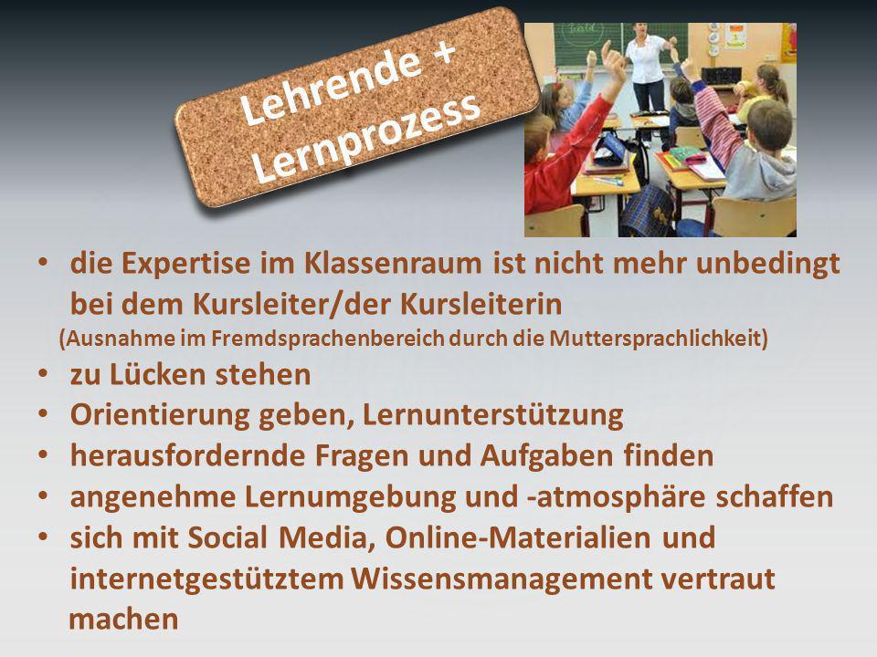 Lehrende + Lernprozess Lehrende + Lernprozess die Expertise im Klassenraum ist nicht mehr unbedingt bei dem Kursleiter/der Kursleiterin (Ausnahme im F