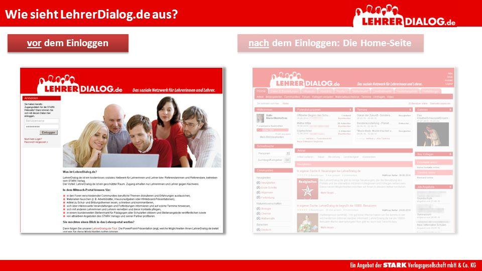 Wie sieht LehrerDialog.de aus? nach dem Einloggen: Die Home-Seite
