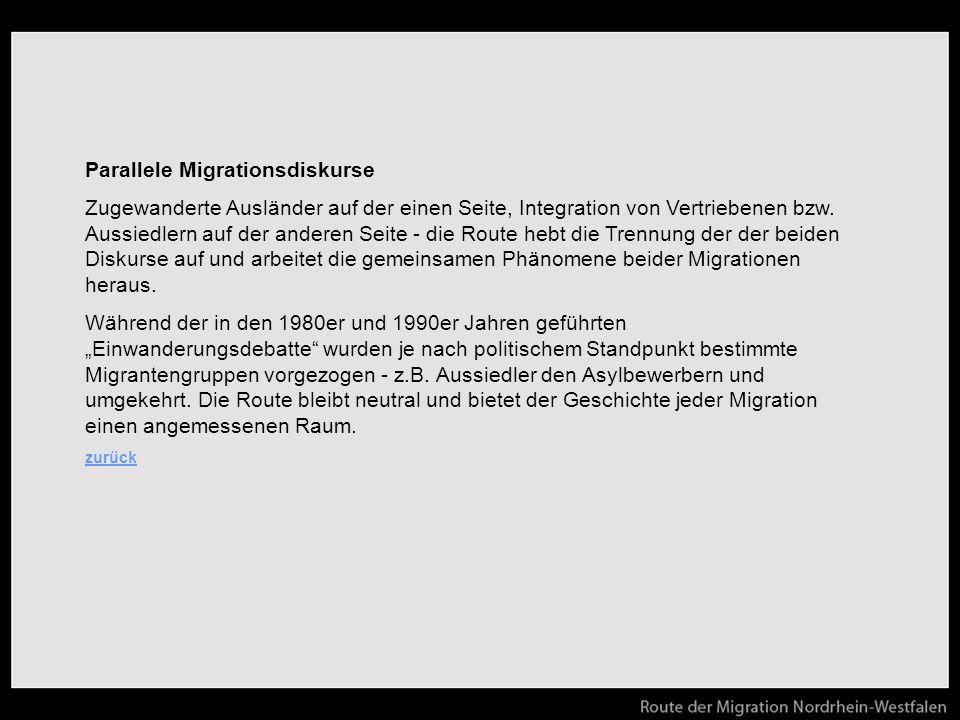 Parallele Migrationsdiskurse Zugewanderte Ausländer auf der einen Seite, Integration von Vertriebenen bzw.