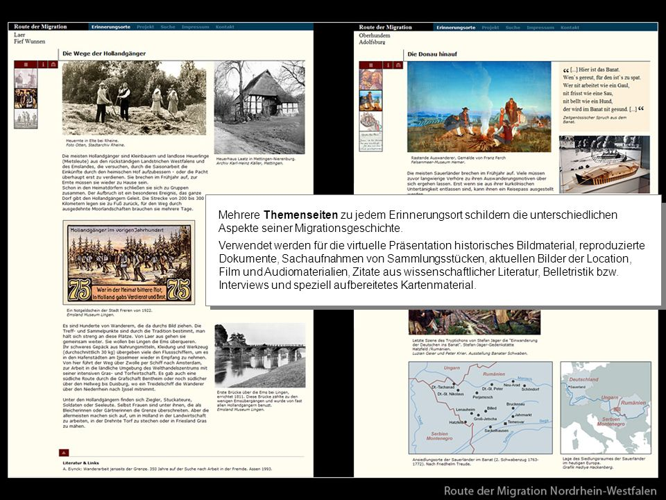 Mit seinem zweispaltigen Layout setzt die Präsentation auf konsequente Abwechslung von visuellen Materialien, Zitaten und erklärendem Text in etwa gleichem Mengenumfang.