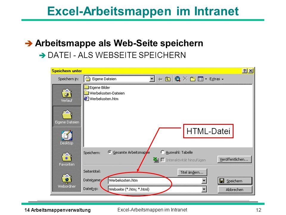 1214 ArbeitsmappenverwaltungExcel-Arbeitsmappen im Intranet è Arbeitsmappe als Web-Seite speichern è DATEI - ALS WEBSEITE SPEICHERN HTML-Datei