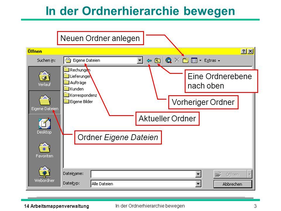 314 ArbeitsmappenverwaltungIn der Ordnerhierarchie bewegen Aktueller Ordner Ordner Eigene Dateien Vorheriger Ordner Eine Ordnerebene nach oben Neuen Ordner anlegen