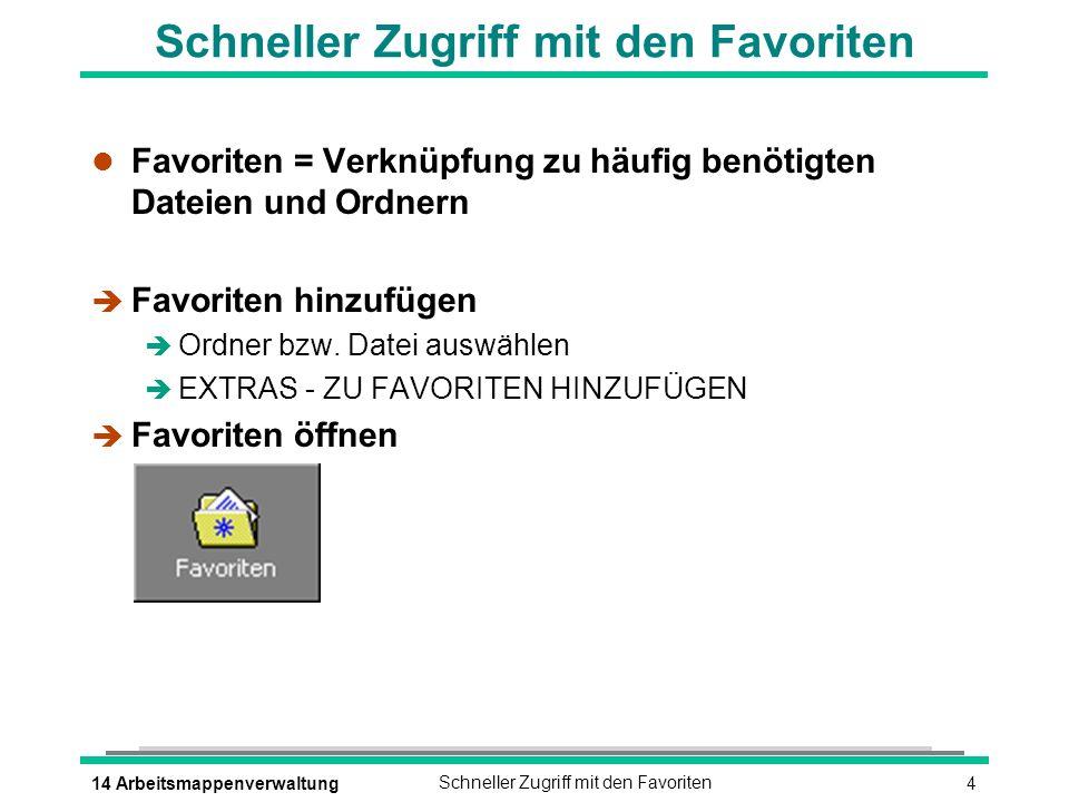 414 ArbeitsmappenverwaltungSchneller Zugriff mit den Favoriten l Favoriten = Verknüpfung zu häufig benötigten Dateien und Ordnern è Favoriten hinzufügen è Ordner bzw.