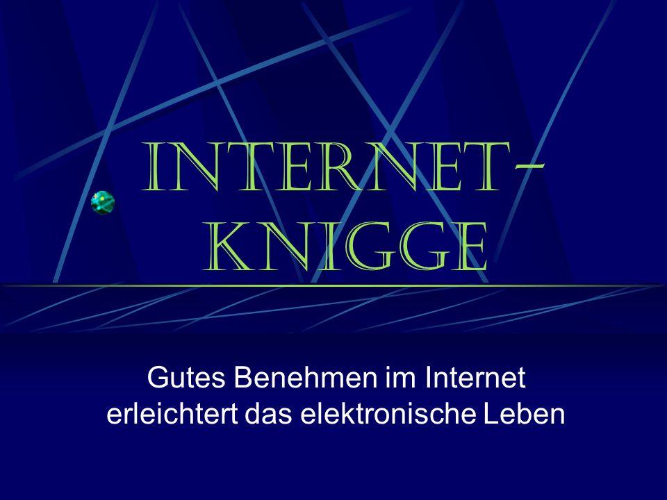Internet- Knigge Gutes Benehmen im Internet erleichtert das elektronische Leben