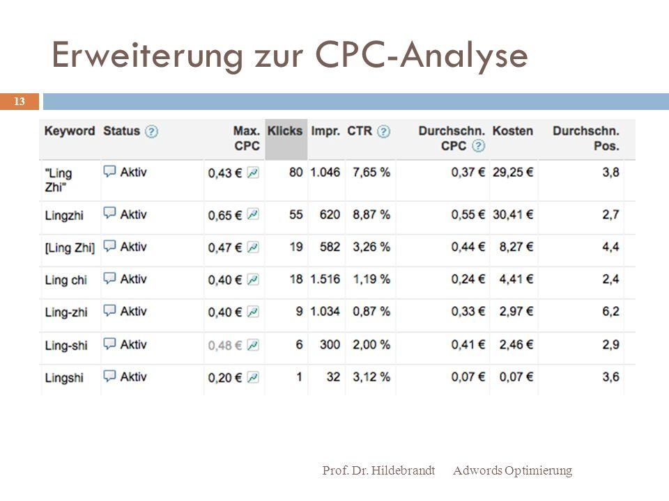 Erweiterung zur CPC-Analyse Adwords Optimierung Prof. Dr. Hildebrandt 13