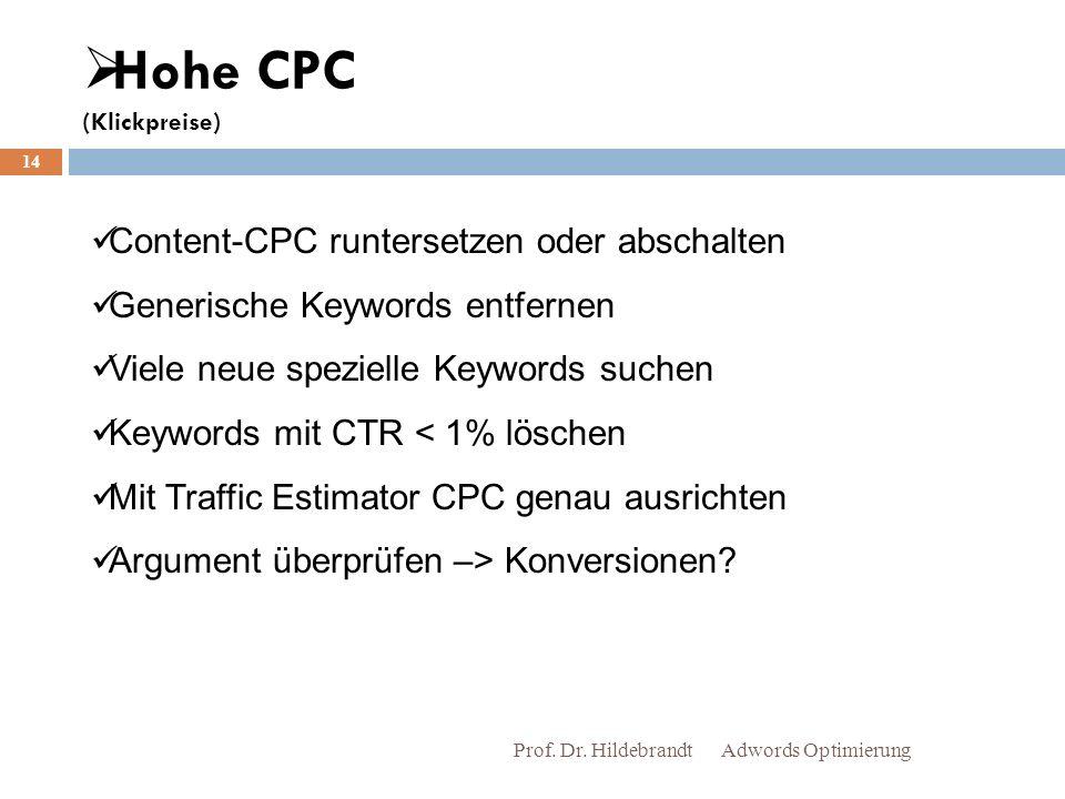 Hohe CPC (Klickpreise) Adwords Optimierung Prof.Dr.