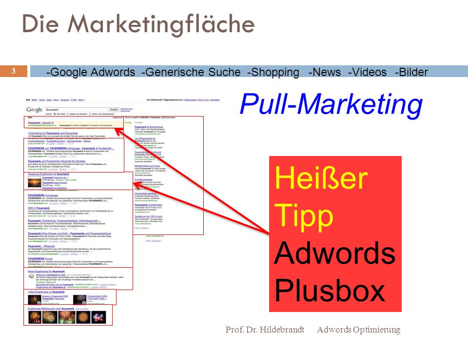 Die Marketingfläche Adwords OptimierungProf. Dr. Hildebrandt 3 -Google Adwords-Generische Suche-Shopping-Videos-Bilder-News Heißer Tipp Adwords Plusbo