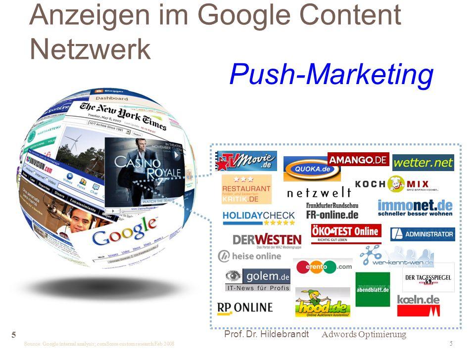 5 Source: Google internal analysis; comScore custom research Feb 2008 Anzeigen im Google Content Netzwerk Adwords Optimierung 5 Prof.