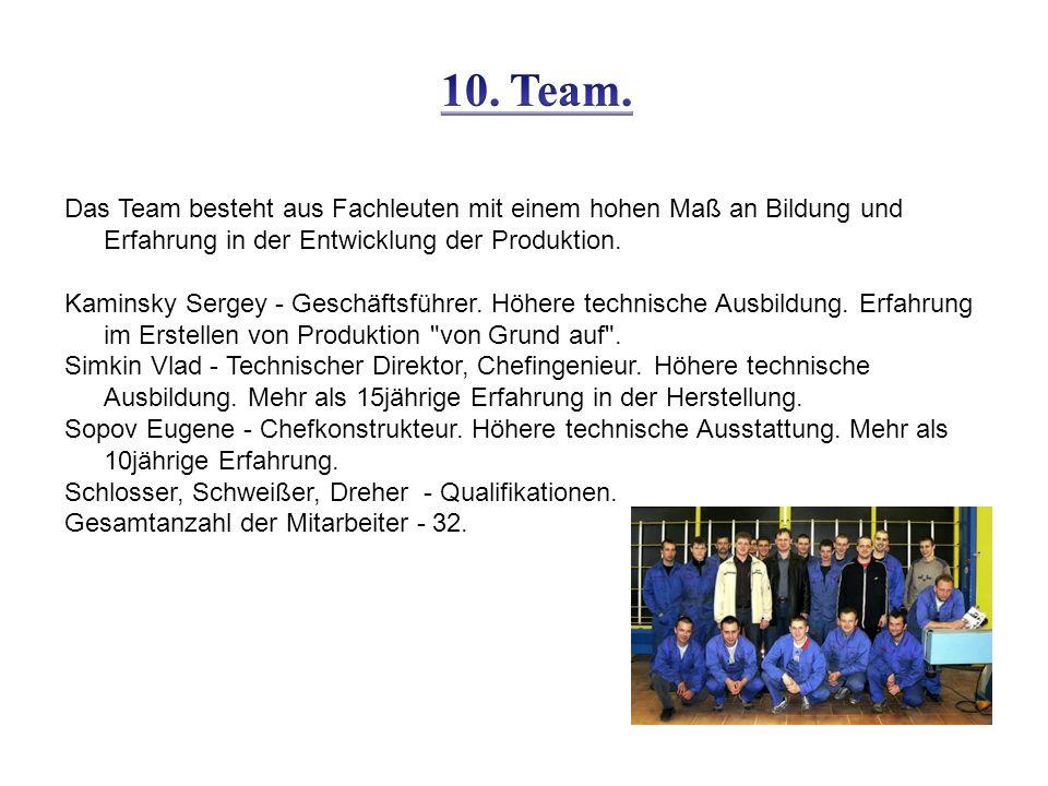 Das Team besteht aus Fachleuten mit einem hohen Maß an Bildung und Erfahrung in der Entwicklung der Produktion.