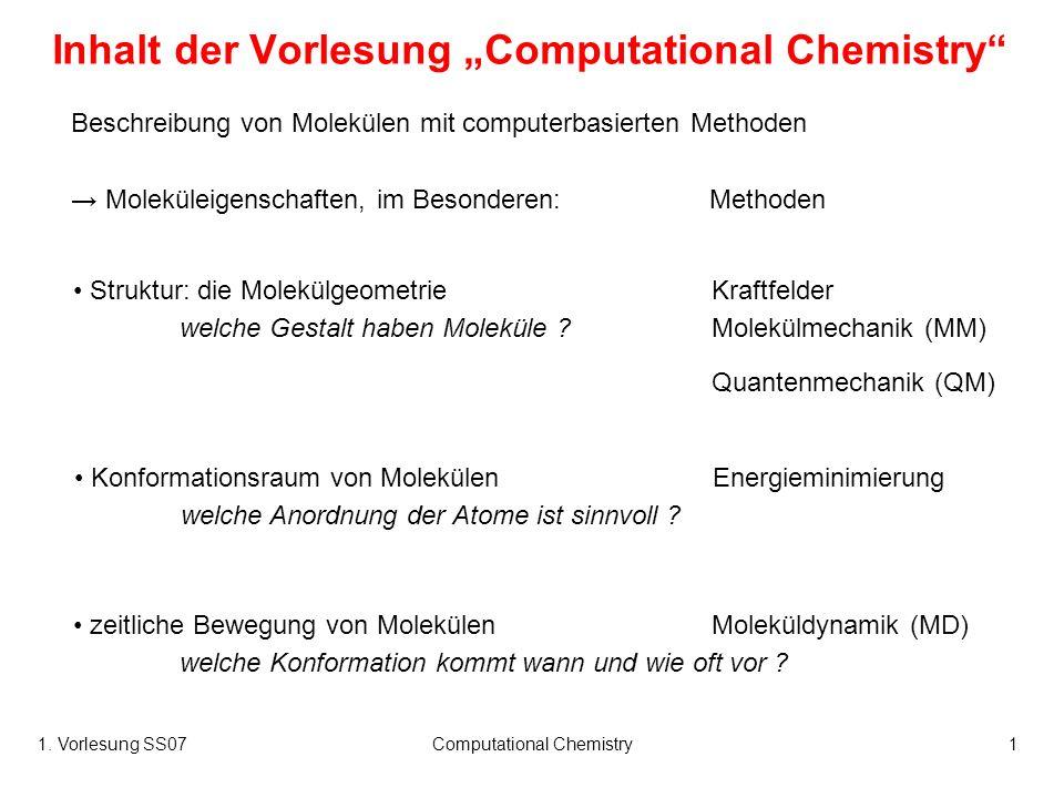 1. Vorlesung SS07Computational Chemistry1 Inhalt der Vorlesung Computational Chemistry Beschreibung von Molekülen mit computerbasierten Methoden Molek