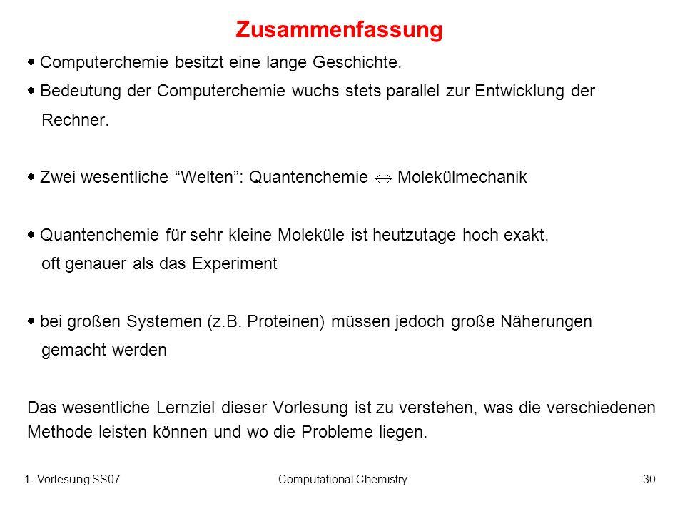 1. Vorlesung SS07Computational Chemistry30 Zusammenfassung Computerchemie besitzt eine lange Geschichte. Bedeutung der Computerchemie wuchs stets para