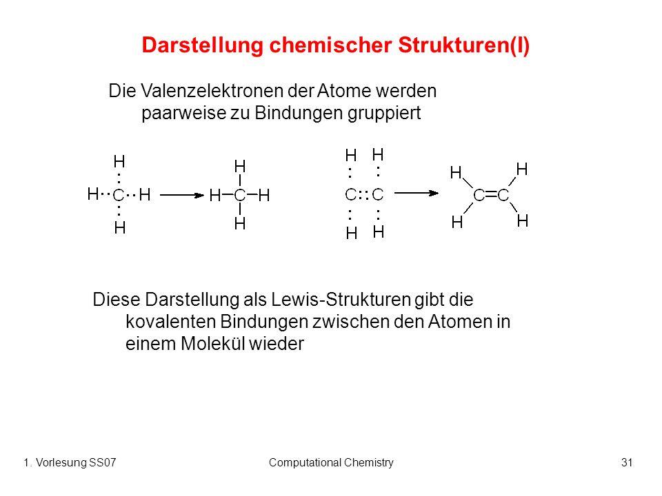 1. Vorlesung SS07Computational Chemistry31 Darstellung chemischer Strukturen(I) Die Valenzelektronen der Atome werden paarweise zu Bindungen gruppiert