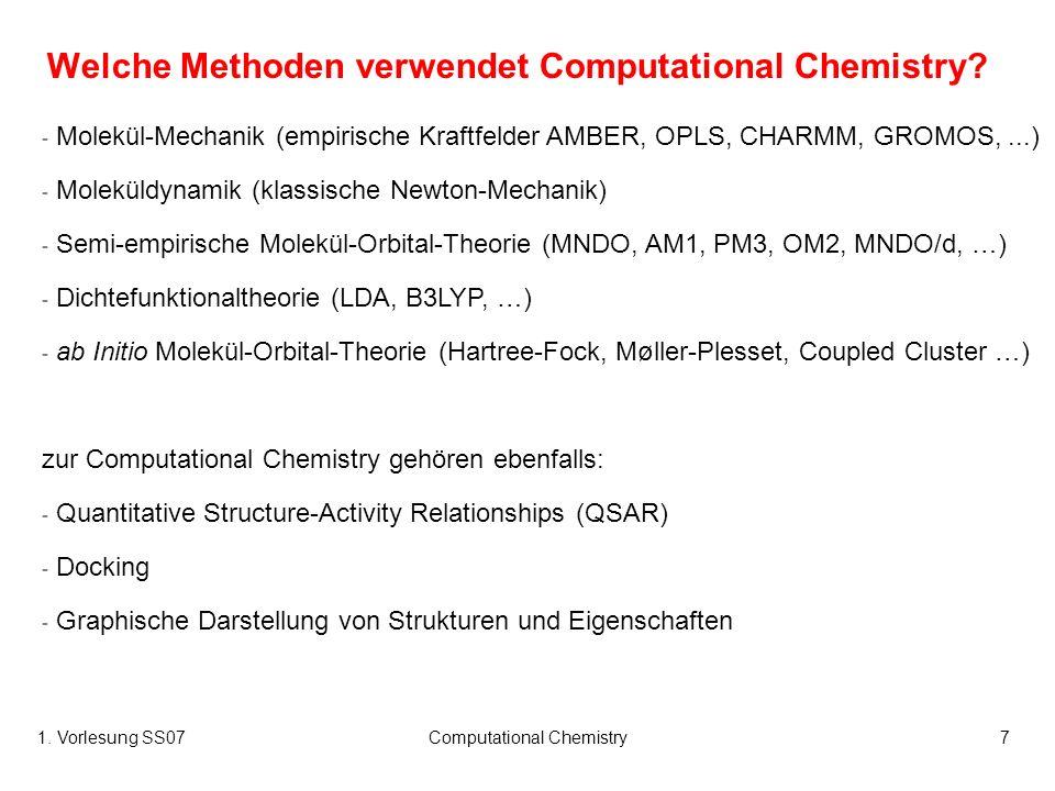 1. Vorlesung SS07Computational Chemistry7 Welche Methoden verwendet Computational Chemistry? - Molekül-Mechanik (empirische Kraftfelder AMBER, OPLS, C