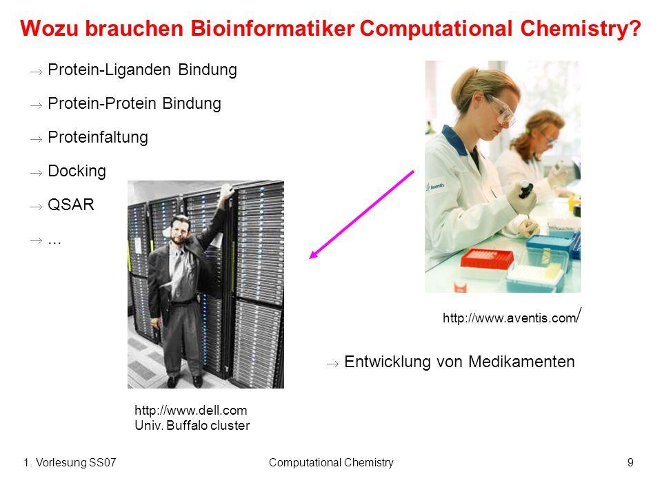 1. Vorlesung SS07Computational Chemistry9 Wozu brauchen Bioinformatiker Computational Chemistry? Protein-Liganden Bindung Protein-Protein Bindung Prot