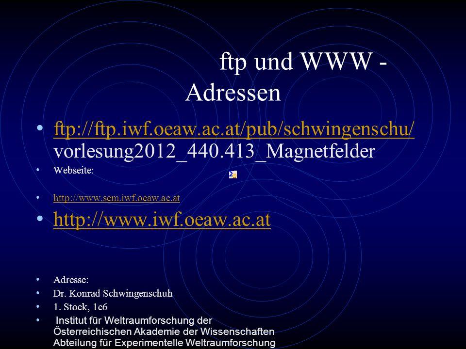 ftp und WWW - Adressen ftp://ftp.iwf.oeaw.ac.at/pub/schwingenschu/ vorlesung2012_440.413_Magnetfelder ftp://ftp.iwf.oeaw.ac.at/pub/schwingenschu/ Webseite: http://www.sem.iwf.oeaw.ac.at http://www.iwf.oeaw.ac.at Adresse: Dr.