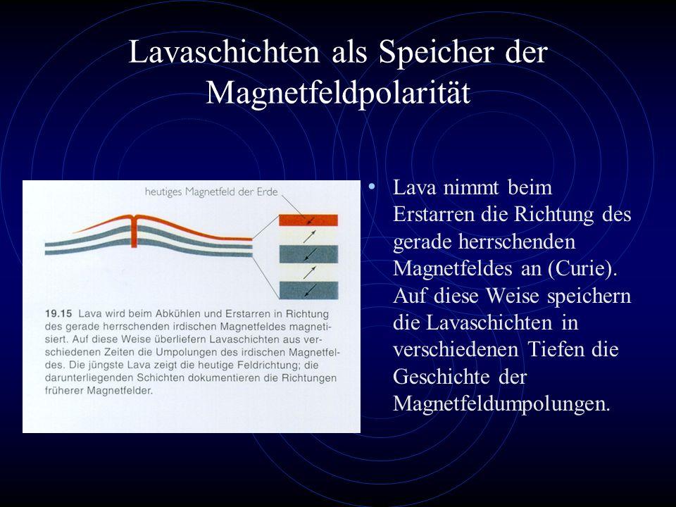 Lavaschichten als Speicher der Magnetfeldpolarität Lava nimmt beim Erstarren die Richtung des gerade herrschenden Magnetfeldes an (Curie).