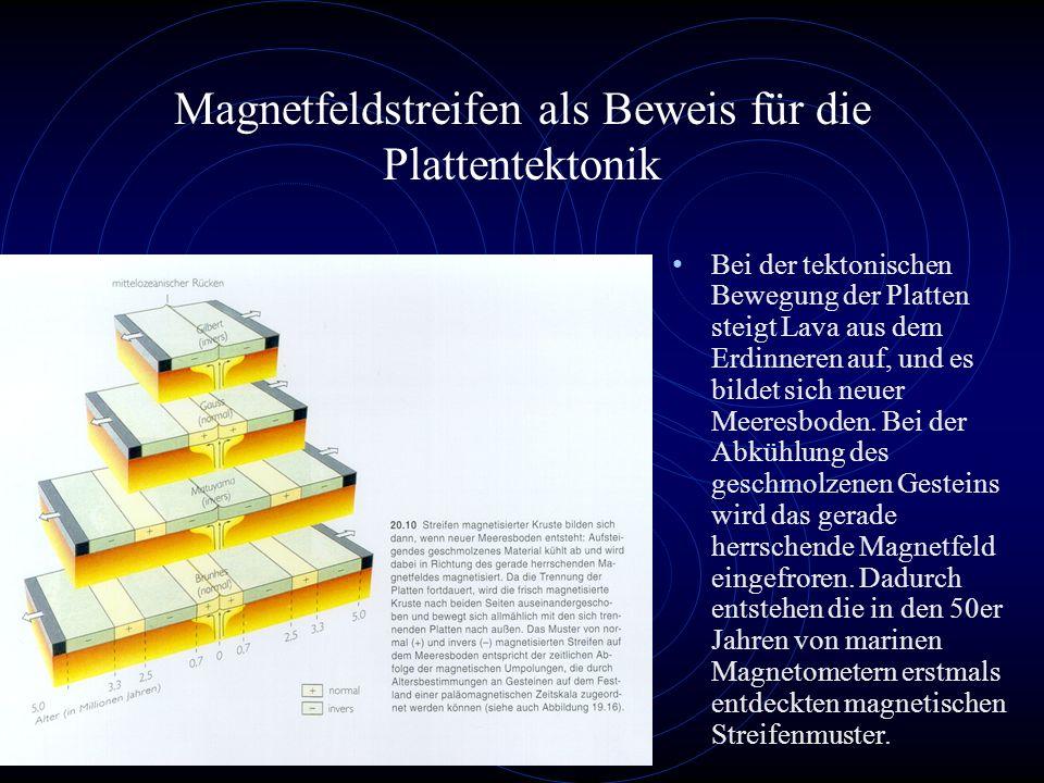 Magnetfeldstreifen als Beweis für die Plattentektonik Bei der tektonischen Bewegung der Platten steigt Lava aus dem Erdinneren auf, und es bildet sich