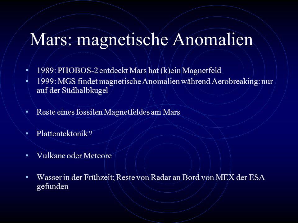 Mars: magnetische Anomalien 1989: PHOBOS-2 entdeckt Mars hat (k)ein Magnetfeld 1999: MGS findet magnetische Anomalien während Aerobreaking: nur auf de