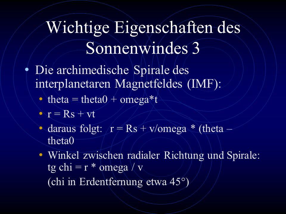 Wichtige Eigenschaften des Sonnenwindes 3 Die archimedische Spirale des interplanetaren Magnetfeldes (IMF): theta = theta0 + omega*t r = Rs + vt darau