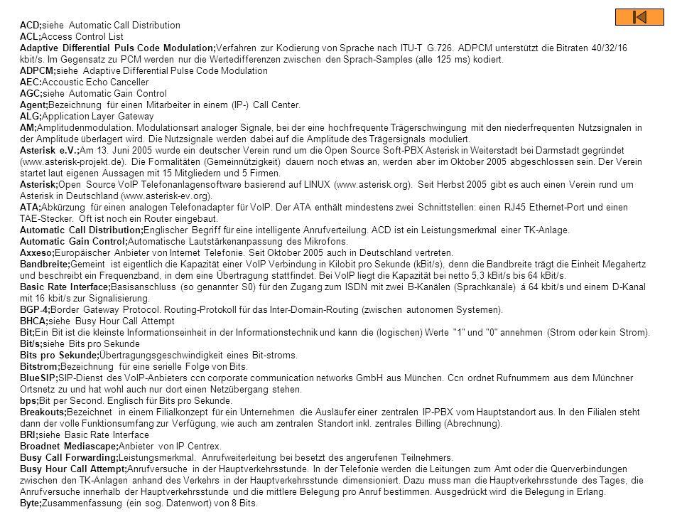 ACD;siehe Automatic Call Distribution ACL;Access Control List Adaptive Differential Puls Code Modulation;Verfahren zur Kodierung von Sprache nach ITU-