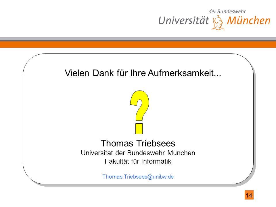 14 Thomas Triebsees Universität der Bundeswehr München Fakultät für Informatik Thomas.Triebsees@unibw.de Vielen Dank für Ihre Aufmerksamkeit...