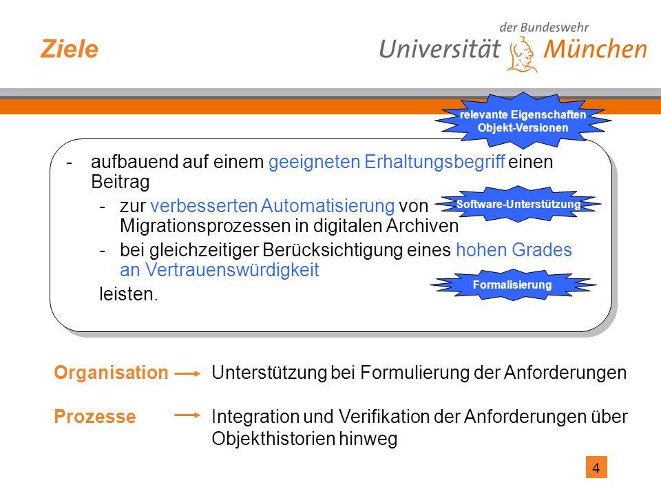 4 Ziele -aufbauend auf einem geeigneten Erhaltungsbegriff einen Beitrag -zur verbesserten Automatisierung von Migrationsprozessen in digitalen Archiven -bei gleichzeitiger Berücksichtigung eines hohen Grades an Vertrauenswürdigkeit leisten.