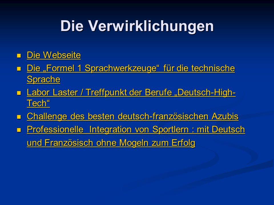 Die Verwirklichungen Die Webseite Die Webseite Die Webseite Die Webseite Die Formel 1 Sprachwerkzeuge für die technische Sprache Die Formel 1 Sprachwe