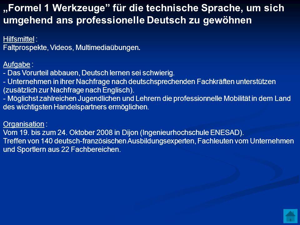 Formel 1 Werkzeuge für die technische Sprache, um sich umgehend ans professionelle Deutsch zu gewöhnen Hilfsmittel : Faltprospekte, Videos, Multimedia