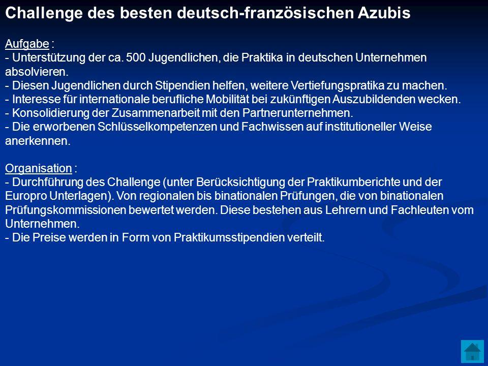 Challenge des besten deutsch-französischen Azubis Aufgabe : - Unterstützung der ca. 500 Jugendlichen, die Praktika in deutschen Unternehmen absolviere
