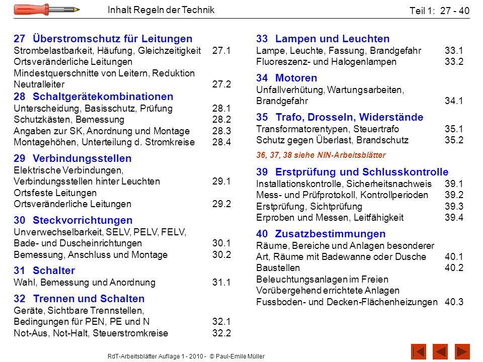 RdT-Arbeitsblätter Auflage 1 - 2010 - © Paul-Emile Müller Inhalt Regeln der Technik Teil 1: 27 - 40 27Überstromschutz für Leitungen Strombelastbarkeit