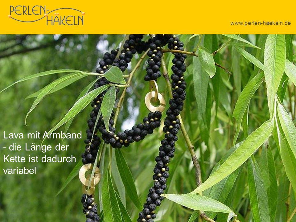 www.perlen-haekeln.de Lava mit Armband - die Länge der Kette ist dadurch variabel