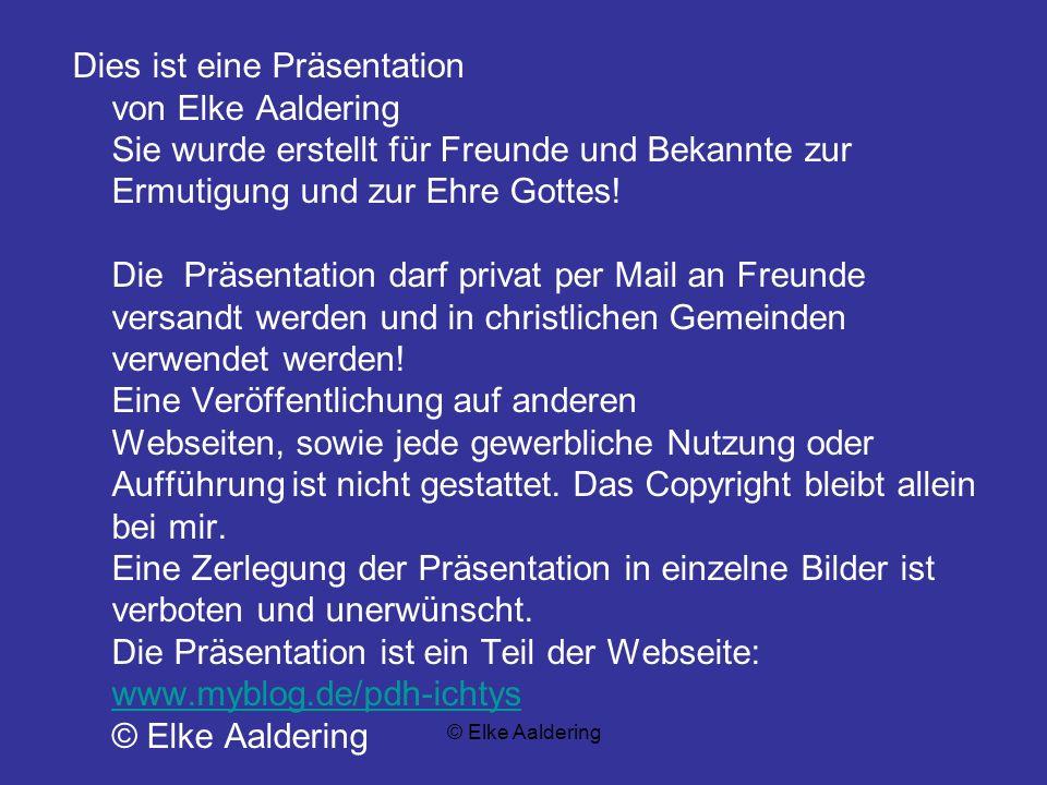 © Elke Aaldering ER hat dich immer schon geliebt und dich zu sich gezogen aus lauter Güte! DU BIST GESEGNET! DARUM SEI EIN SEGEN!