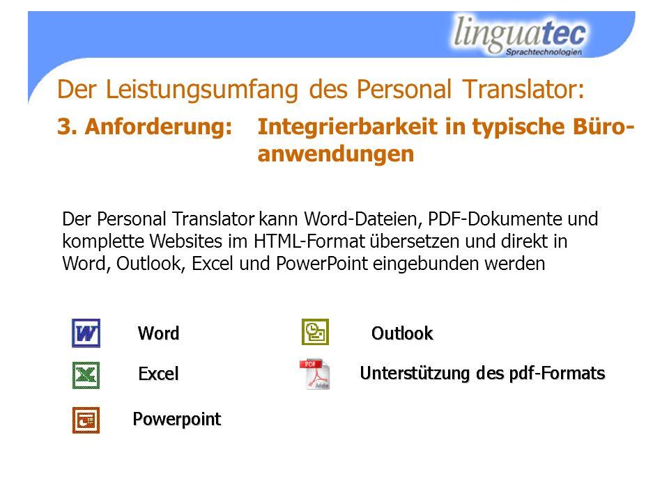 Der Leistungsumfang des Personal Translator: 3.