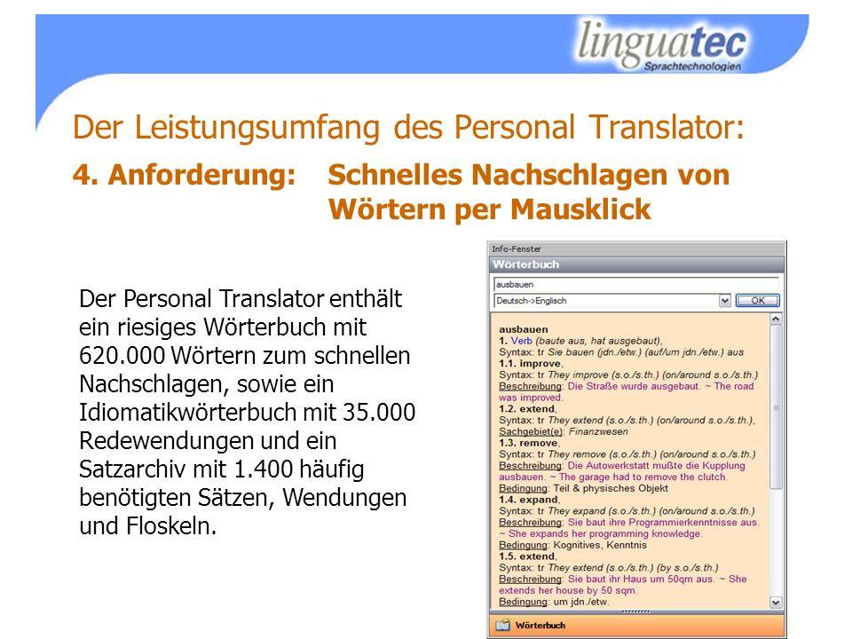 Der Leistungsumfang des Personal Translator: 4.
