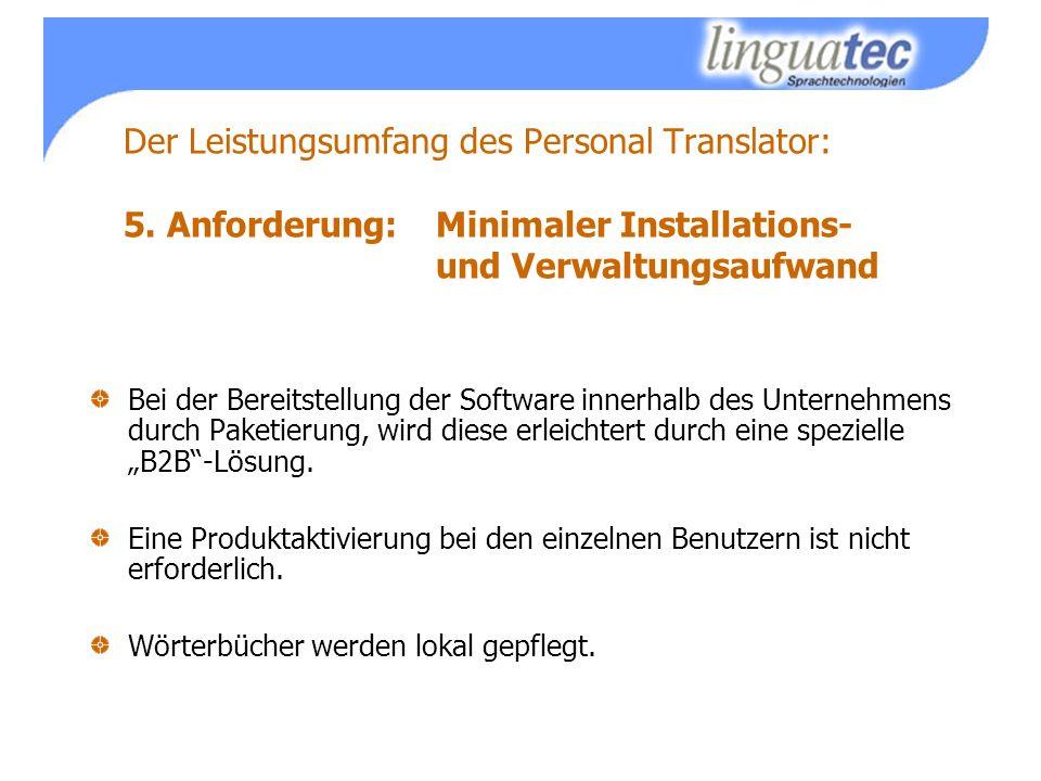 Der Leistungsumfang des Personal Translator: 5.