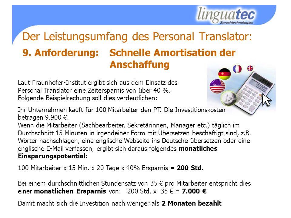 Der Leistungsumfang des Personal Translator: 9.