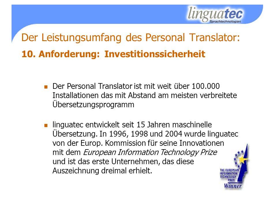 Der Leistungsumfang des Personal Translator: 10.